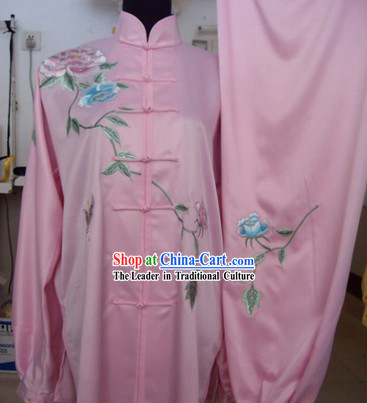 Pink Chinese Martial Arts Competitions Uniform for Women
