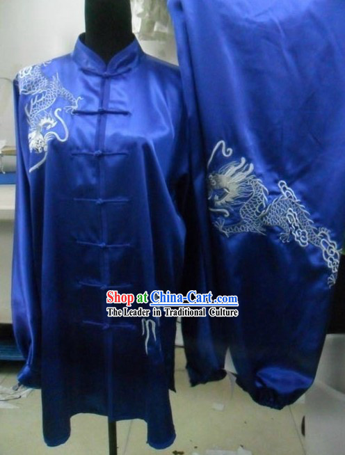 Chinese Traditional Silk Dragon Tai Chi Costumes for Men
