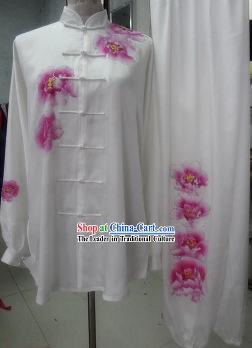 Supreme Silk Embroidered Flower Kung Fu Master Competition Uniform Complete Set