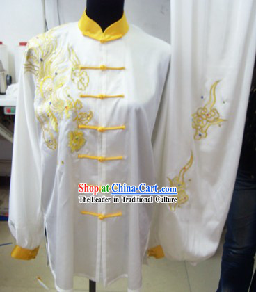 Comfortable White Phoenix Kung Fu Silk Uniform for Competition for Men