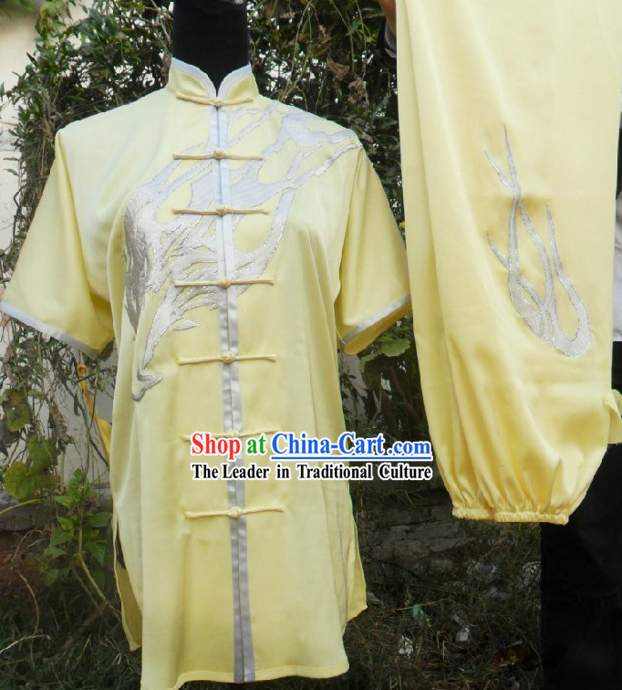 Light Yellow Eagle Silk Kung Fu Garment for Men
