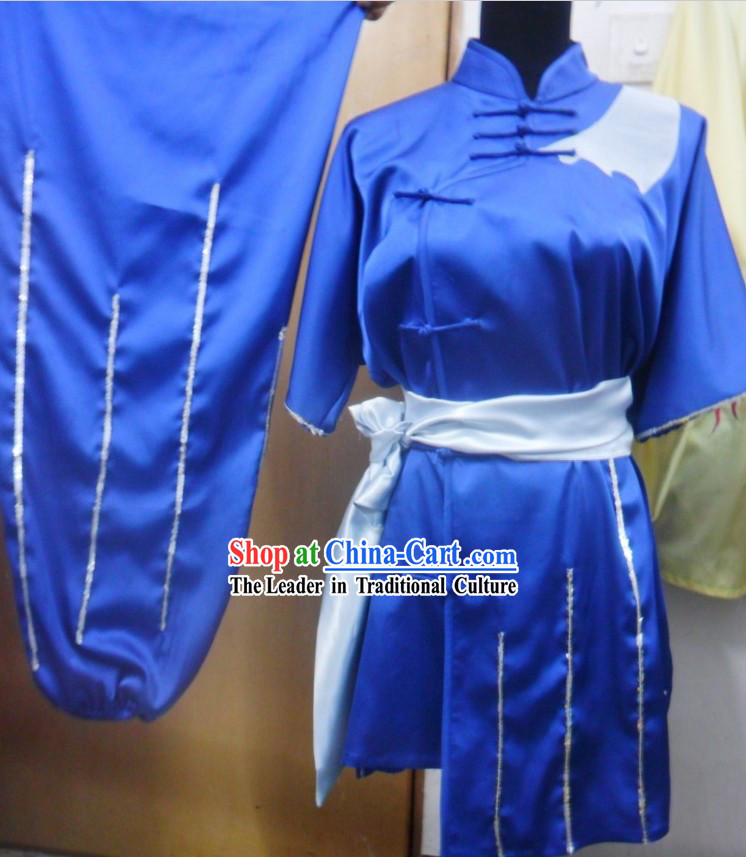 Blue Graceful Kung Fu Silk Uniform for Women