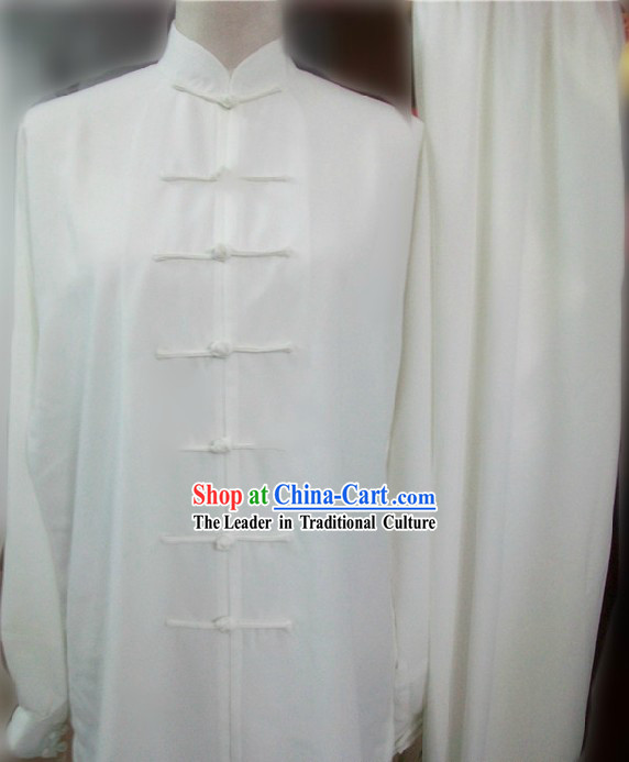 Plain White Cotton and Silk Kung Fu Dress and Pants