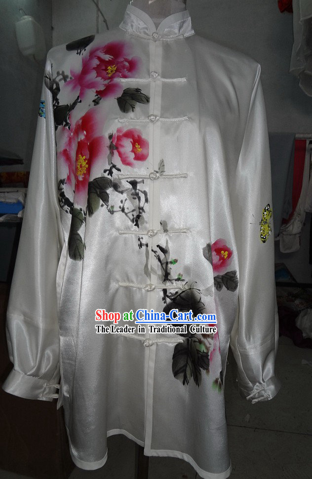 Supreme Silk Original Painting Peony Butterfly Tai Chi Suit