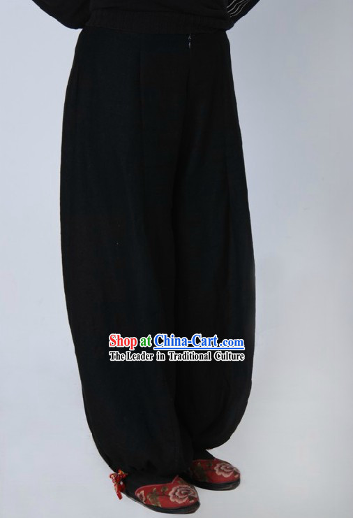 Traditional Black Cotton Wushu Pants