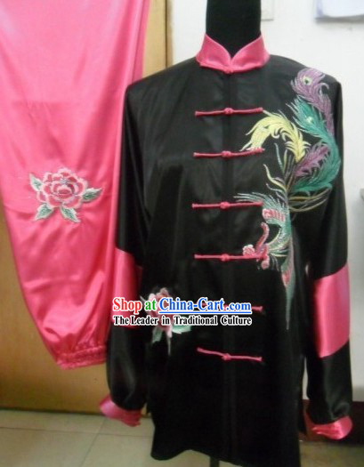 Pure Silk Phoenix Embroidery Martial Arts Costumes for Women