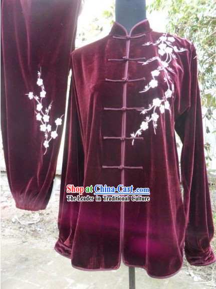 Red Velvet Plum Blossom Embroidery Kung Fu Dress Complete Set