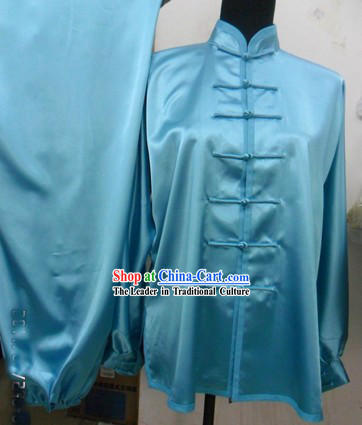 Pure Silk Sky-blue Kung Fu Dress for Men