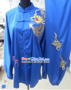 Silk Blue Dragon Kung Fu Dress for Men