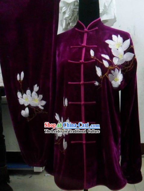 Purple Velvet Lotus Embroidery Uniform for Women