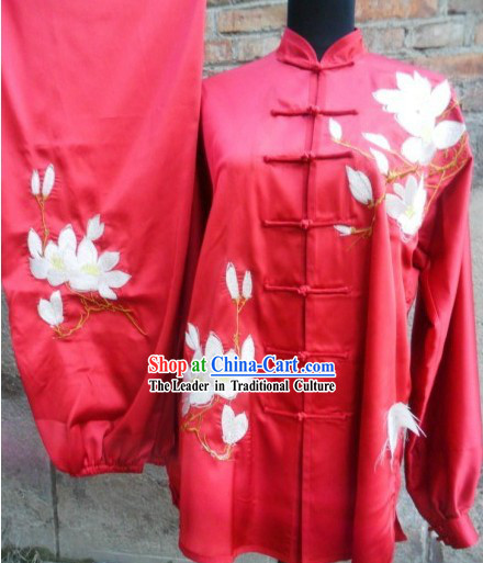 Professional Red Silk Tai Chi Costumes for Women