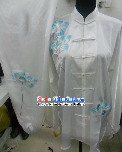 White Silk Lotus Embroidery Tai Chi Dress for Women