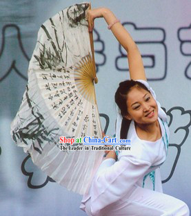 Ancient Style Chinese Calligraphy Silk Dance Fan