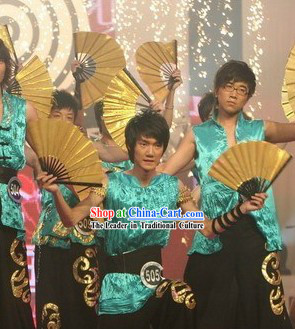 Traditional Shinning Gold Dance Fan