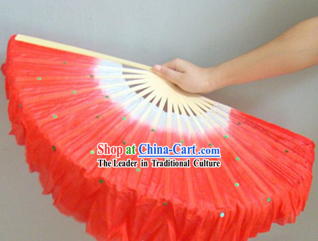 Chinese Color Transitional White and Red Sequins Silk Dance Fan