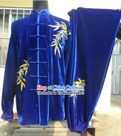 Blue Velvet Bamboo Leaf Kung Fu Exercise Uniform for Men