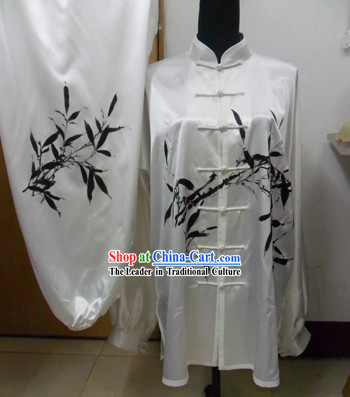 White Kung Fu Silk Competition Uniform for Men