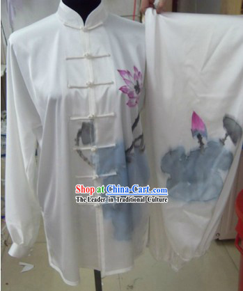 Traditional Chinese Hand Painted Lotus Tai Chi Competition Clothing