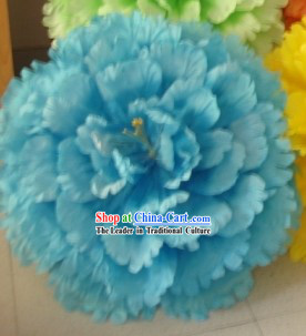 Chinese Blue Peony Flower Dance Umbrella