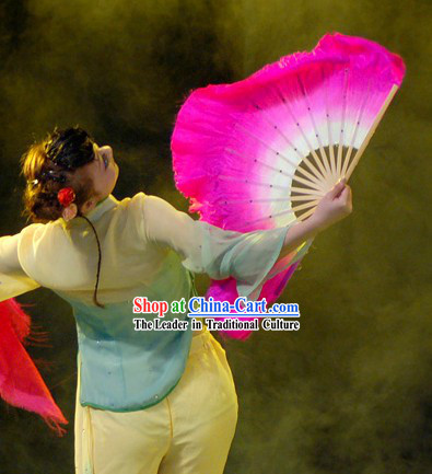 Chinese Classic Pink Silk Dance Fan