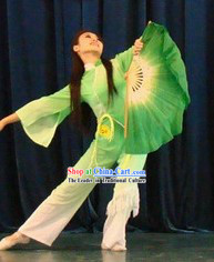 Double Sides Green Silk Dance Fan