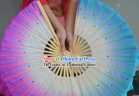 Chinese Classic Two Layers Double Sides Silk Dance Fan