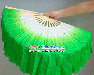 Chinese Color Transition Green and White Silk Dance Fan