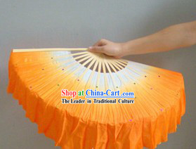 Chinese Color Transition White and Orange Sequins Silk Dance Fan
