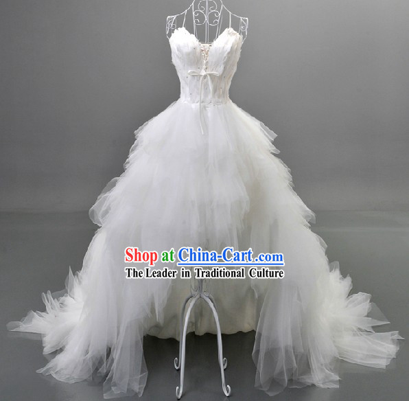 Romantic Pure White Feather Wedding Dress for Bride