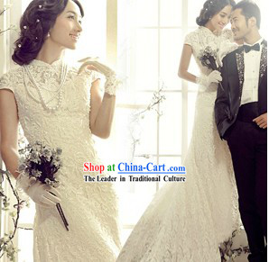 Chinese Classic White Qipao Cheongsam Bridal Wedding Dress
