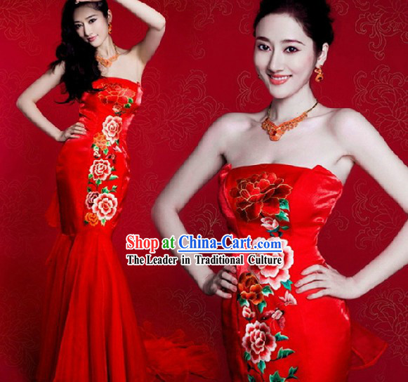 Chinese Classic Red Peony Mermaid Style Wedding Dress