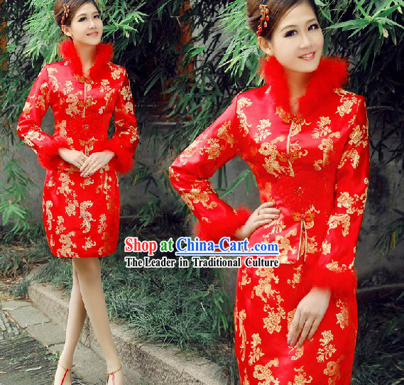 Chinese Classic Red Wedding Dress Set for Brides