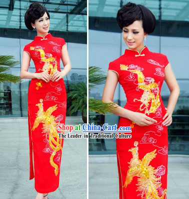 Traditional Chinese Red Dragon Phoenix Wedding Qipao