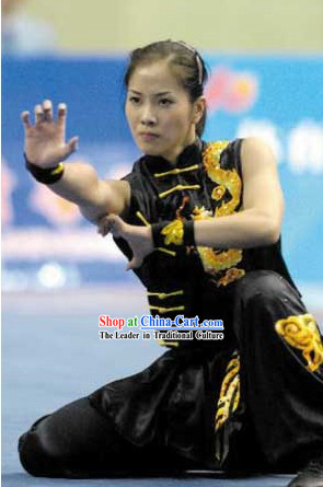 Black Chinese Martial Arts Kung Fu Competition Silk Suit for Women