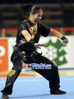 Black Kung Fu Competition and Exercises Silk Dress Complete Set for Women