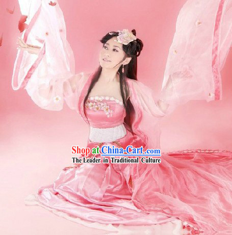 Ancient China Pink Fairy Costumes and Headpieces