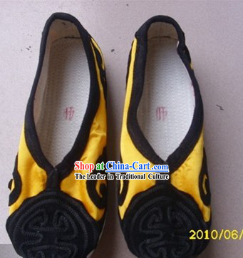Traditional Chinese Yellow Taoist Shoes for Men
