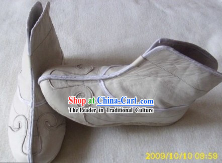 Traditional Chinese White Taoist Cloud Boots for Men