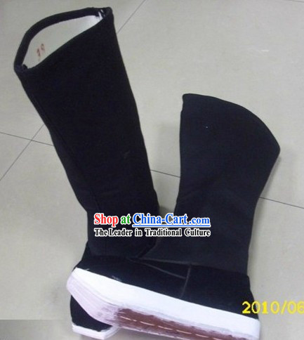 Traditional Chinese Black Taoist Boots for Men
