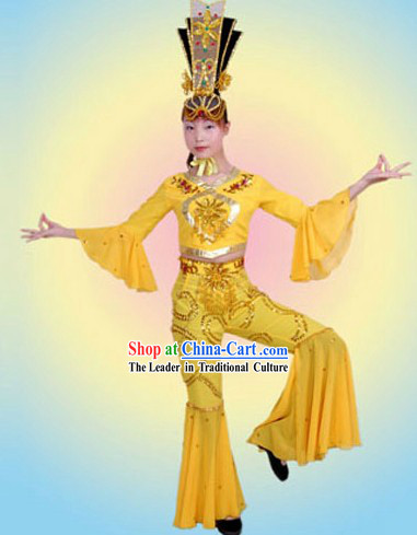 Ancient Chinese Palace Fei Tian Flying Fairs of Dunhuang Mural Dance Costumes Complete Set