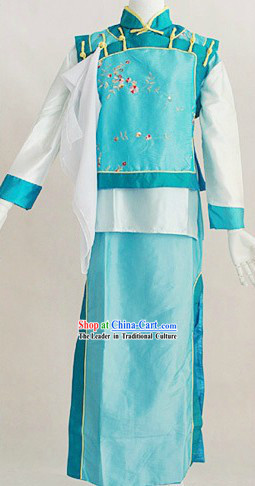 Qing Dynasty Blue Palace Maid Costumes for Women