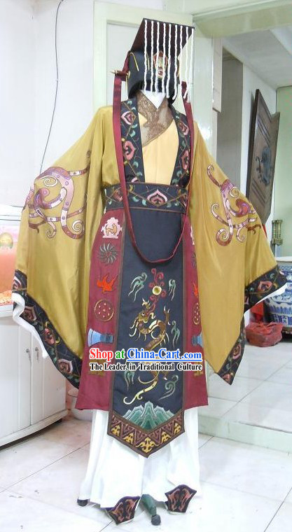 Ancient Chinese Palace Emperor Clothing and Hat Complete Set