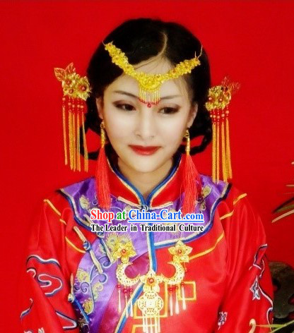 Ancient Chinese Wedding Hair Accessories, Earrings and Necklace for Brides