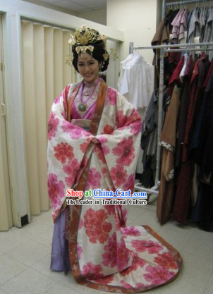 Ancient Chinese Palace Empress Costumes and Hair Accessories Complete Set