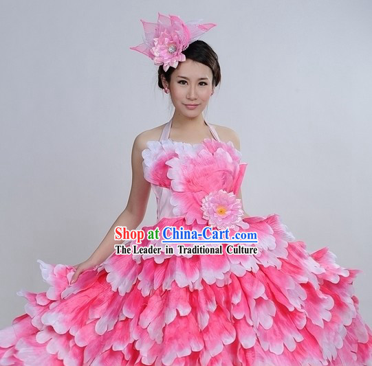 Pink Color Transition Flower Dance Costumes and Headpiece Complete Set for Women