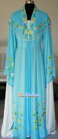Chinese Shaosing Opera Hua Tan Long Sleeve Blue Costume for Women