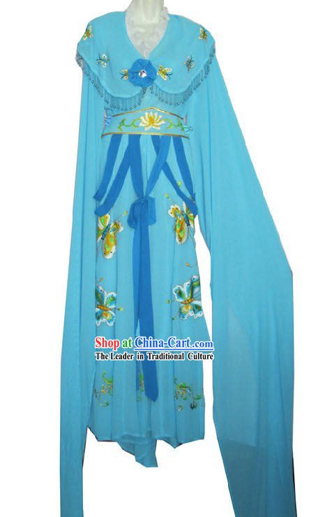 Blue Chinese Opera Young Women Hua Tan Butterfly Long Sleeve Costume for Women