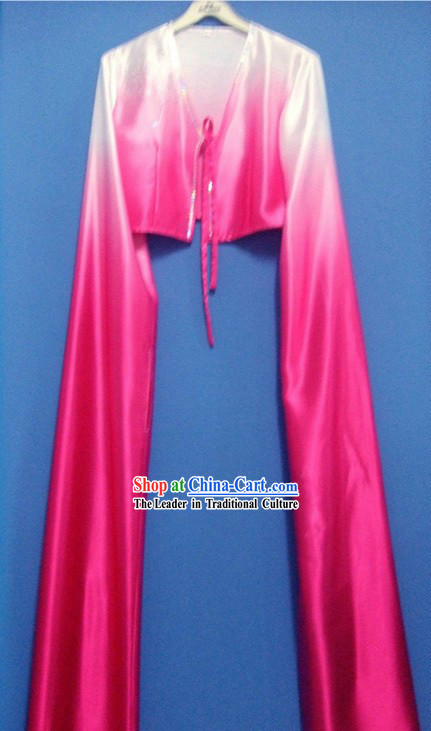 Rose Color Gradual Change Water Sleeve Dance Costumes