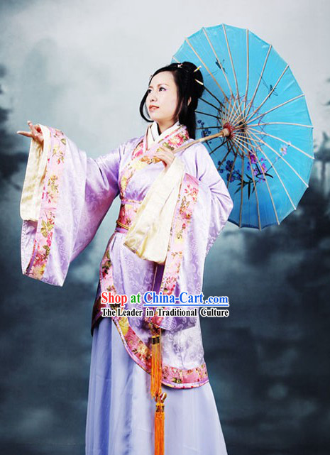 Ancient Chinese Han Fu Clothing and Umbrella for Women