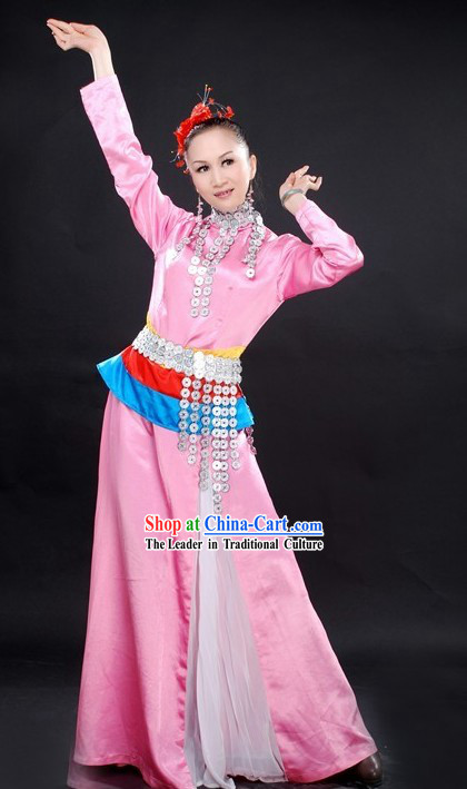 Chinese Pink Ethnic Dance Costumes Complete Set for Women